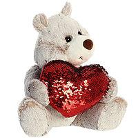 Мягкая игрушка Aurora 190114C Аврора Медведь Большое сердце коричневый 30 см.