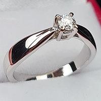Золотое кольцо с бриллиантом 0,17Сt VS2/G Ex-Cut, фото 1