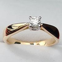 Золотое кольцо с бриллиантом 0,14Сt VS2/G Ex-Cut, фото 1