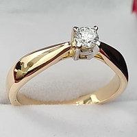 Золотое кольцо с бриллиантом 0,15Сt VS2/G Ex-Cut, фото 1