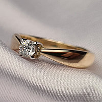 Золотое кольцо с бриллиантом 0,14Сt VS2/G Ex-Cut