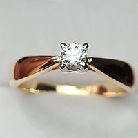 Золотое кольцо с бриллиантом 0,16Сt VS2/G Ex-Cut, фото 1