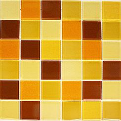 Крупная стеклянная мозаика каричнево-желтая