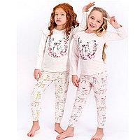 Пижама детская девичья* рост 116-122, Меланж розовый