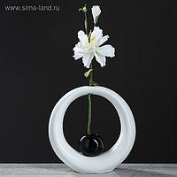 """Ваза настольная """"Орбита"""", белый, чёрный цвет, 24 см, керамика"""