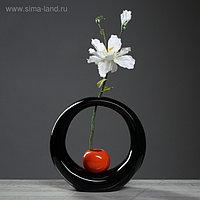 """Ваза настольная """"Орбита"""", чёрный, красный цвет, 25 см, керамика"""