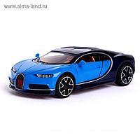 Машина металлическая Bugatti Chiron, открываются двери, капот, инерция, цвет синий