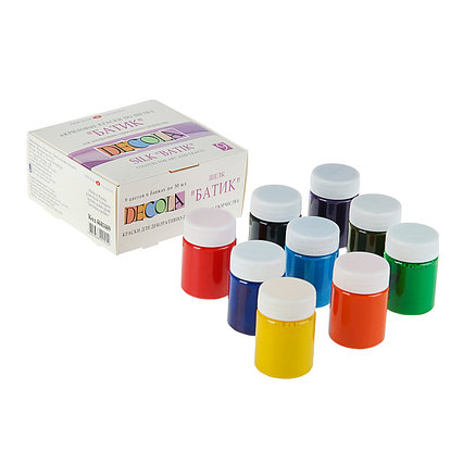 Краска по ткани (шелку), набор 9 цветов х 50 мл, Decola (акриловая на водной основе)