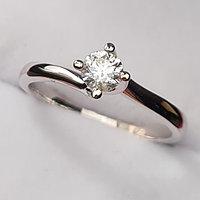 Золотое кольцо с бриллиантом 0,25Сt VS2/H EX-Cut, фото 1