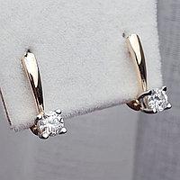 Золотые серьги с бриллиантами 0.35Ct SI1/G, фото 1