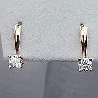 Золотые серьги с бриллиантами 0.38Ct SI1/G, фото 1