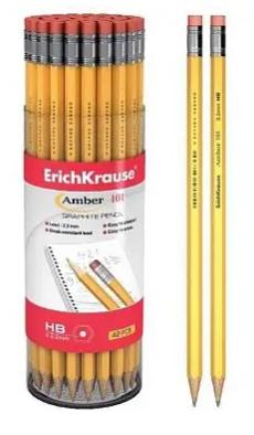 "Карандаш ERICH KRAUSE ""AMBER"" HB, с ластиком, желтый"