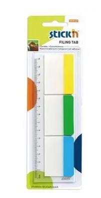 Закладки клейкие STICK`N 37х50 мм, разделители пластиковые, 3 цвета х 10 закладок