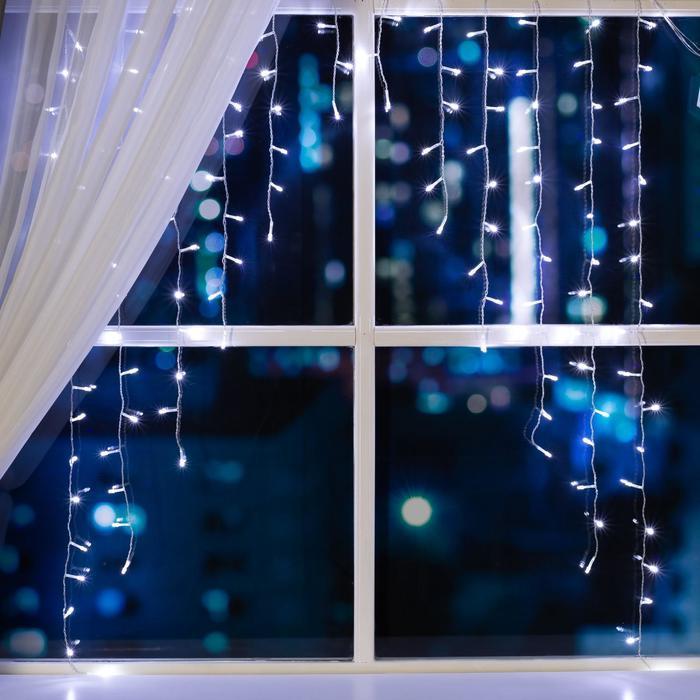 """Гирлянда """"Бахрома-арка"""" 1 х 1 м , IP20, прозрачная нить, 126 LED, свечение белое, 8 режимов, 220 В"""