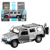 Машина металлическая Hummer H3 132, инерция, световые и звуковые эффекты, открываются двери, цвет серебро