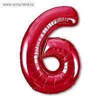 """Шар фольгированный 40"""" «Цифра 6», цвет красный, Slim"""