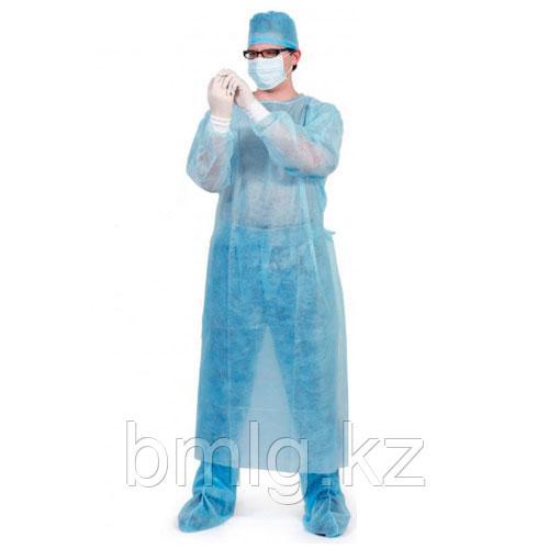 Одноразовый медицинский халат (с манжетом)