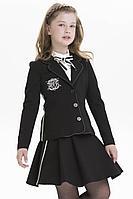 Детская для девочек осенняя трикотажная черная деловая юбка Papilio Kids K906/8 128-60р.