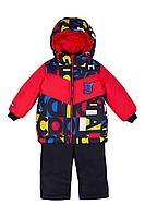 Детская для мальчиков зимняя куртка и полукомбинезон Bell Bimbo 193021 красный/набивка 80-48р.