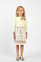 Детское для девочек осеннее трикотажное желтое платье GuliGuli П-45 молоко 98-52р.