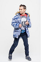 Детская для мальчиков зимняя голубая куртка Bell Bimbo 173056 набивка/т.синий 134-68р.