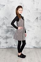Детский для девочек осенний трикотажный серый деловой сарафан GuliGuli П-51д серый 152-76р.