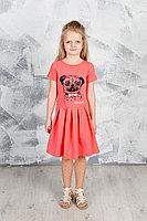 Детское для девочек летнее трикотажное красное платье GuliGuli П-49 коралл+собака 98-52р.