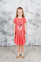 Детское для девочек летнее трикотажное красное платье GuliGuli П-49 коралл+кот 98-52р.