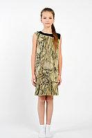 Детское для девочек летнее трикотажное зеленое платье GuliGuli П-35д тропическая-абстракция 134-68р.