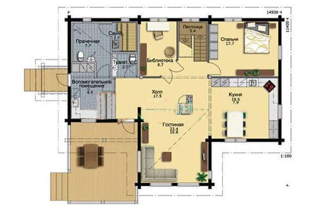 Проект двухэтажного дома с сауной из профилированного бруса, план двухэтажного дома и строительство под ключ, проектирование и строительство деревянных домов.
