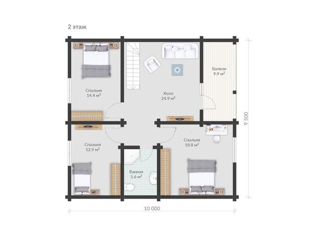 Проект двухэтажного дома с балконом и террассой, план двухэтажного дома и строительство под ключ, проектирование и строительство деревянных домов.