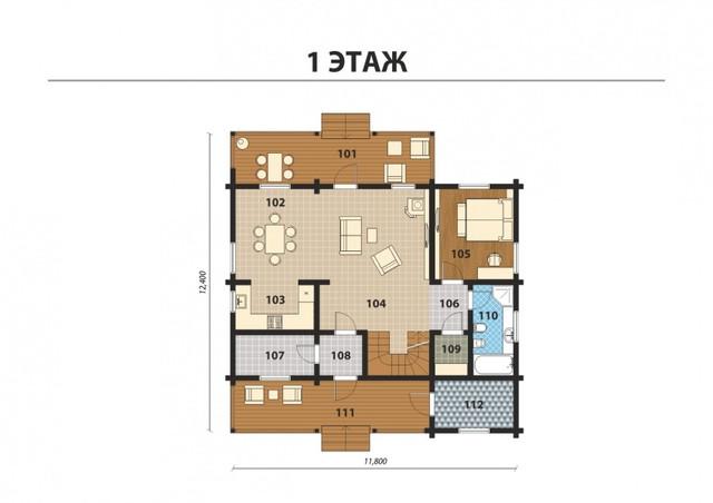 Проект двухэтажного дома из бруса с терасой, план двухэтажного дома и строительство под ключ, проектирование и строительство деревянных домов.