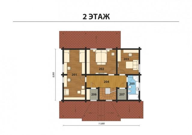 Проект двухэтажного дома из профилированного бруса с терасой, план двухэтажного дома и строительство под ключ, проектирование и строительство деревянных домов.
