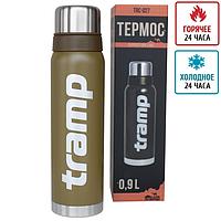 Термос Tramp 0.9л оливковый и черный, 24 часа