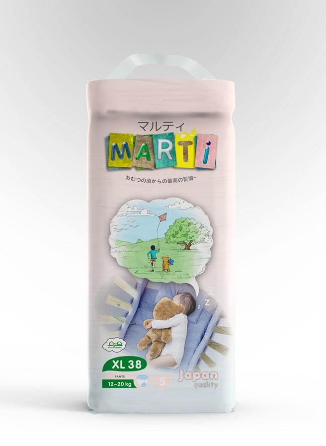 Трусики-подгузники MARTI размер XL (12-20кг) 38 штук
