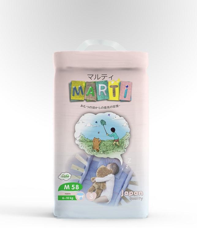 Трусики-подгузники MARTI размер M (6-10кг) 58 штук