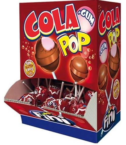 Леденец Финипоп FINI POP Cola вкус Колы с жевательной резинкой 5.5 гр. (100шт в упак)