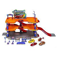 Игрушка игровой набор Гараж, 3 уровня, включает 3 машины и вертолет