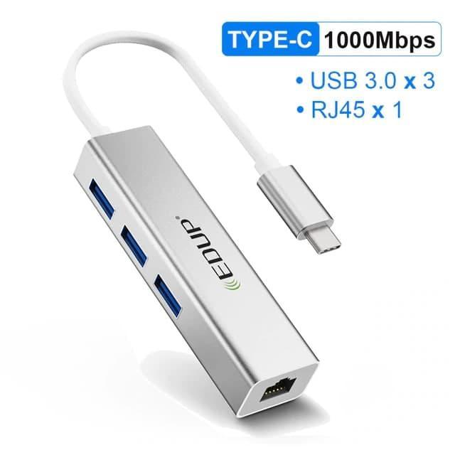 USB-С Hub 4в1 EDUP 4в1, RJ-45,1000 Mbps + 3x USB 3.0 | Сетевая карта Адаптер Переходник Ethernet LAN