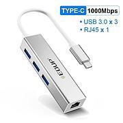 USB-С Hub 4в1 EDUP 4в1, RJ-45,1000 Mbps + 3x USB 3.0   Сетевая карта Адаптер Переходник Ethernet LAN