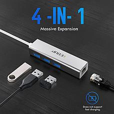 USB Hub 4в1 EDUP, RJ-45,1000 Mbps + 3x USB 3.0  | Сетевая карта Адаптер Переходник Ethernet LAN, фото 2