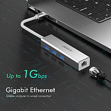 USB Hub 4в1 EDUP, RJ-45,1000 Mbps + 3x USB 3.0  | Сетевая карта Адаптер Переходник Ethernet LAN, фото 3