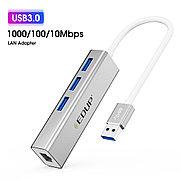 USB Hub 4в1 EDUP, RJ-45,1000 Mbps + 3x USB 3.0    Сетевая карта Адаптер Переходник Ethernet LAN