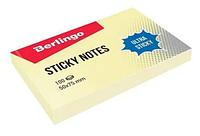 "Клейкие листки BERLINGO ""Ultra Sticky"" 50х75 мм, желтые, 100 листов"