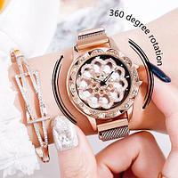 Часы женские наручные «Бриллиантовый цветок» с вращающимся циферблатом и магнитным ремешком (Золотой)