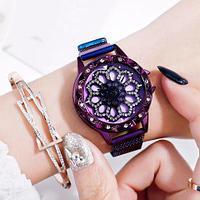 Часы женские наручные «Бриллиантовый цветок» с вращающимся циферблатом и магнитным ремешком (Фиолетовый)