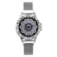Часы женские наручные «Бриллиантовый цветок» с вращающимся циферблатом и магнитным ремешком (Серебряный)