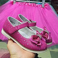 Туфельки детские нарядные розовые