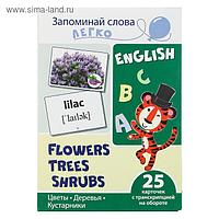 """Обучающие карточки """"Цветы, деревья, кусты"""" 25 карточек с транскрипцией на обороте"""