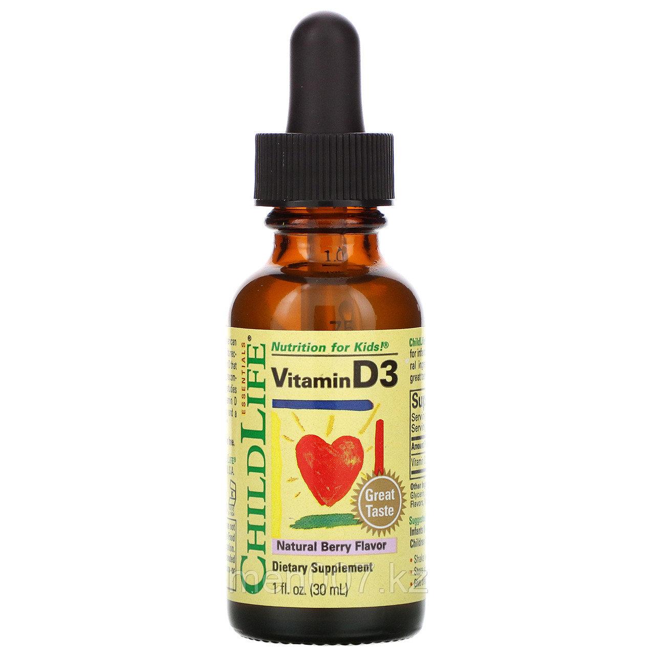 БАД Витамин D3 в каплях со вкусом натуральных ягод для детей 500 МЕ, от ChildLife (30 мл)